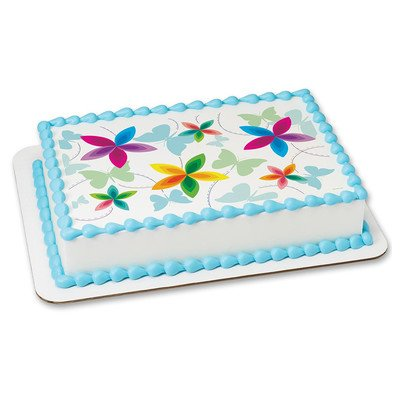 Flowers and Butterflies Edible Icing Image for 6 inch Round Cake