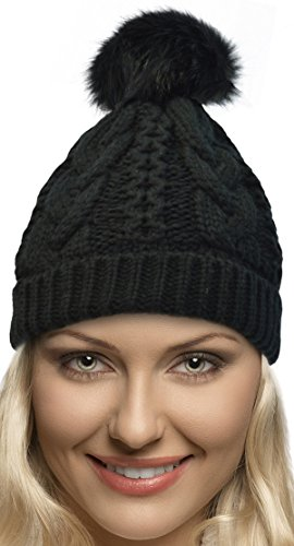 Terra Winter Hand Knit Beanie Hat with Faux Fur Pompom for Women and Men, Black, One Size by Terra
