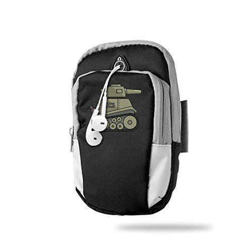 Cell Phone Armband Case Holder Tank Phone Holder Pouch with Adjustable Velcro & Key Holder to Hold Money, Cards and Keys for Running & Working Out, Walking, Hiking (Badge Thomas Tank)