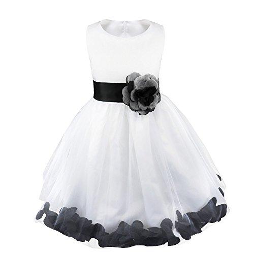 Cupcake Communion Dress (iiniim Girls Petals Tulle Princess Wedding Pageant Party Flower Girl Dress Turquoise Petals)
