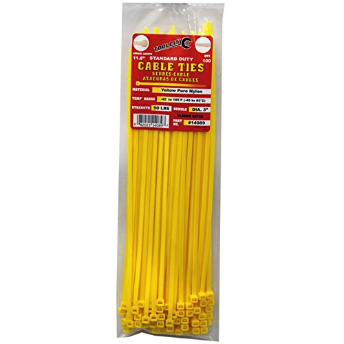 Tool City 14089 Cable Tie, Yellow, 11.8''