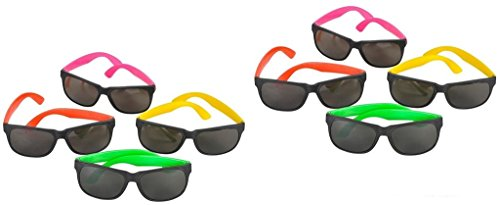 NEON 80's style PARTY SUNGLASSES with dark lens24 - 2014 Styles Sunglass