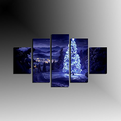 - 5 Panel Snow Night Landscape Wall Art Canvas Prints White Oil Paintings Christmas Eve Wall Pictures for Living Room Modern Home Decoration Framed ready to hang