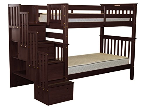 Bedz King Tall Stairway Bunk Beds Twin over Twin with 4 Drawers in the Steps, Cappuccino - Bed Cappuccino Finish