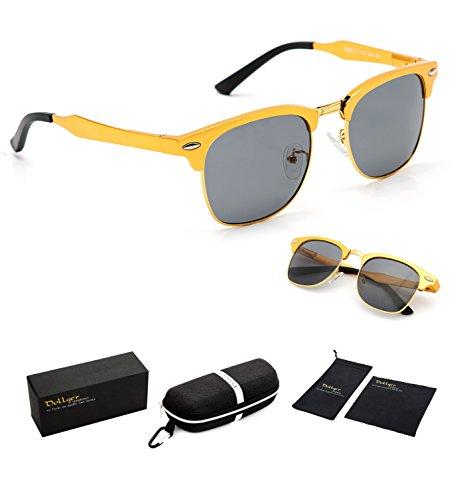 1a306adf5f Dollger Clubmaster Polarized Wayfarer Sunglasses Horn Rimmed Half Frame (  Black Lens+Gold Frame ) - Buy Online in UAE.