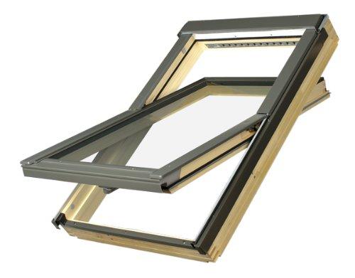 Dachfenster Fakro Schwingfenster 78x160cm Holz mit automatischer Dauerlüftung V40P Standardverglasung U3 mit Eindeckrahmen für Biber