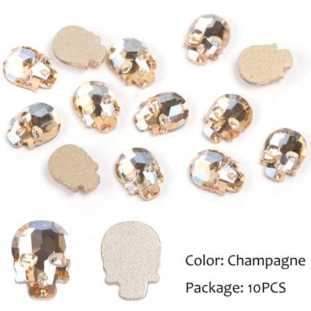 Nails Art Accessories - 10pcs Skull Bone Rhinestones for Nails Crystal Flat Back Stone Halloween Skeleton Charm 3D Nail Decoration Nail Decorations Nail Crystals Nail Art Rhinestones - Champagne