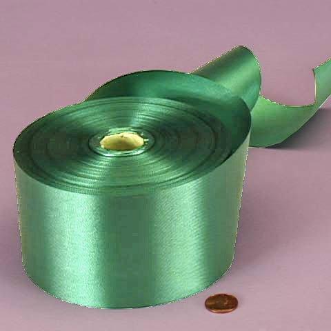 Emerald Green Embossed Poly Satin Ribbon, 2-3/4