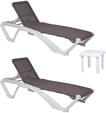 resol set de 2 tumbonas jardín exterior Acqua estructura blanca, textilene arena y 1 mesa auxiliar Andorra blanca: Amazon.es: Hogar