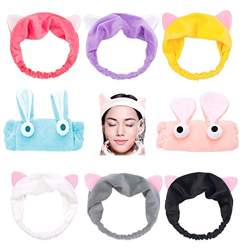 Cat Rabbit Ear Headband, 8 Pack Elastic Makeup Cosmetic Facial Cleansing Beauty Hair Band for Girls and Women