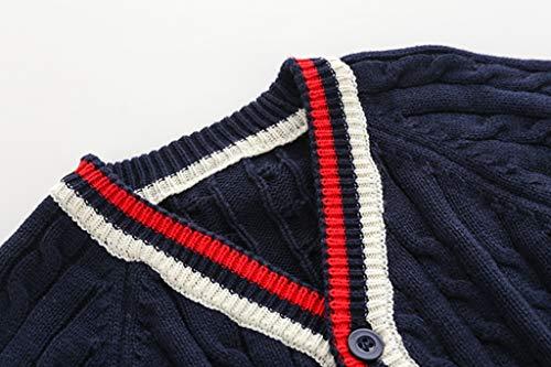 e69b6d26a Wellwits Kids Stripe Cable Knit Button School Uniform Cardigan ...