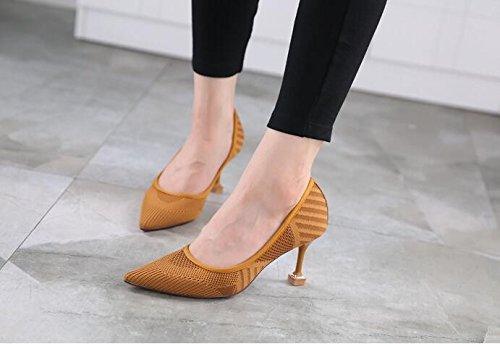 GTVERNH-NellAutunno Del Nuovo Stile Moda Scarpe Da Donna Moda Colore Superficiale Solo Scarpe Sexy Sharp Scarpe Scarpe Tacco 7Cm Trentaquattro Camel