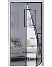 """[Upgraded Version] Magnetic Screen Door with Heavy Duty Mesh Curtain and Full Frame Hook & Loop, Fits Door Size up to 34""""x82"""" Max, Hands Free"""