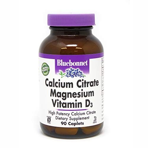 Bluebonnet Nutrition Calcium Citrate Magnesium Plus Vitamin D3 Caplets, Bone Health & Muscle Relaxation, Non GMO, Gluten Free, Soy Free, Milk Free, Kosher, 90 - Caplets Magnesium Citrate
