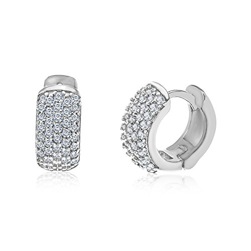 MIA SARINE 13mm Cubic Zirconia Pave Huggie Hoop Bridal Gift Earrings for Women in 925 Sterling Silver