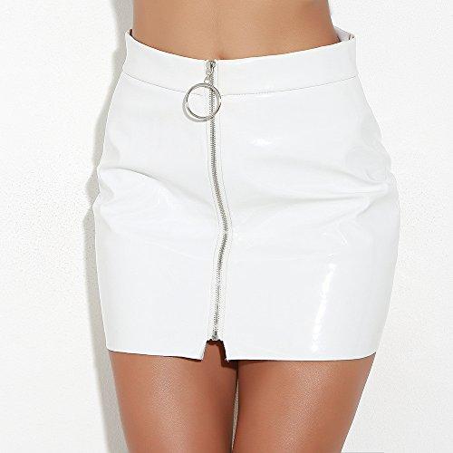 Hip Jupe Mini Mode Sexy Solide Mini Jupes Brillante Cuir Taille Jupe Blanc Haute Skinny Femme Crayon Courte Bodycon en Youngii aqnTxZISE