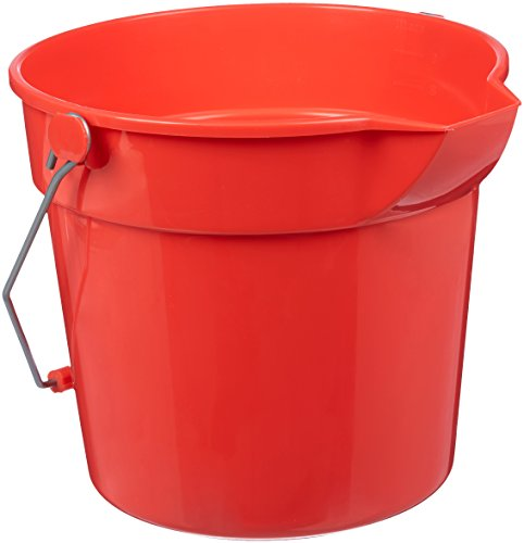 AmazonBasics 10 Quart Plastic Cleaning Bucket with Handle, Red, 6-Pack