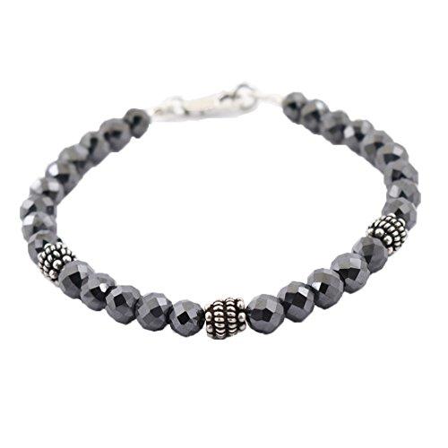 6mm Black Diamond Beads Bracelet- Birthday Gift,Anniversary Gift,Men Jewelry by skyjewels