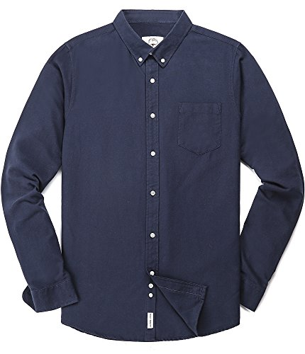 Men's Oxford Long Sleeve Button Down Dress Shirt With Pocket,Navy Blue,Large (Western Shirt 90s)