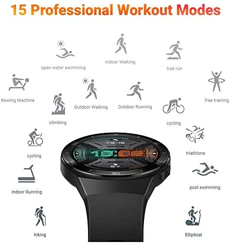HUAWEI Watch GT 2e Bluetooth SmartWatch, Sport GPS 14 Days Working Fitness Tracker, Heart Rate Tracker, Blood Oxygen Monitor, Waterproof for Android and iOS, 46mm Graphite Black 414RF0O1vpL