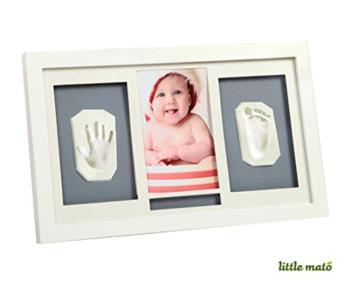 Little Mato Air Drying Clay Handprint and Footprint Baby Keepsake Hanging Wall Photo Frame Kit with Alphabet Sticker