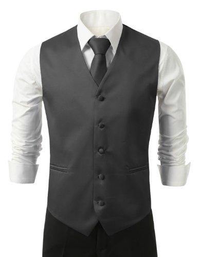 IDARBI Men's 3 Piece Dress Vest, Necktie and Handkerchief for Suit or Tuxedo CHARCOAL16 XS