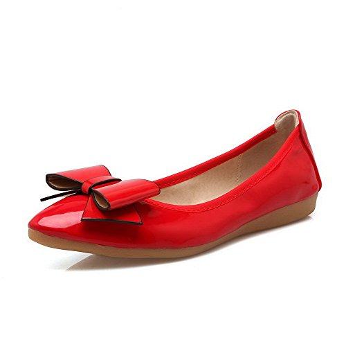 AalarDom Mujer Puntera en Punta Mini Tacón Material Suave De salón con Lazos Rojo
