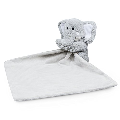 Waddle Favorite Plush Elephant Baby Blanket Soft Cuddle Lovey Stuffed Animal Rattle Toy Nursery Decor Security Blankie Grey Gray