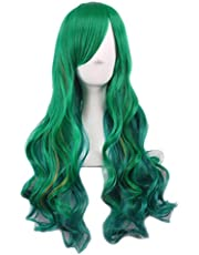 Women Long Cosplay Hair Cosplay Synthetic Fashion Hairpiece Headwear for Women Grils (Green)