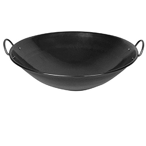 "CURVED RIM WOKS HEAVY IRON WOK ROUNDED HANDLES RESTAURANT ASIAN COOKWARE (21 1/2"")"