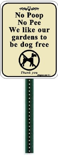 Small Discreet No Poop or Pee Sign and 1ft Steel Post Mounted To Place In Your Lawn Or Garden