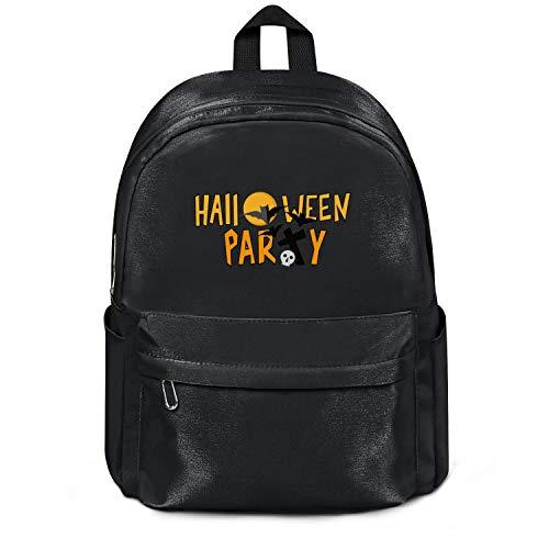 LunchBaggg Nylon Backpack for Women/Men Essential Everyday Halloween Party Bats and Skullblack Durable Work Bag