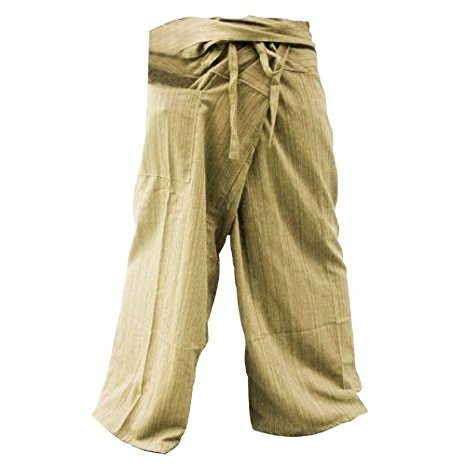 Deluxe Adult Costumes - Cotton ivory stripe 2-tone Thai fisherman slop pirate pants
