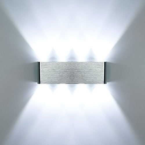 Phenas Modern Wall Light LED Wall Lamp Aluminum Alloy 8W Cool White with Up and Down Light Source, IP65 Waterproof Indoor for Bedroom,Corridor, Living Room, Stairs, KTV