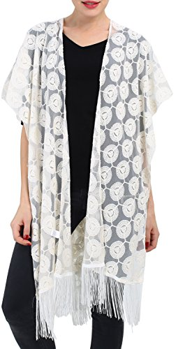 Linked Moda Women Lace Kimono Swimwear Scarf - Vintage Boho Dress Outfit Blouse Bikini Cover from LINKED MODA