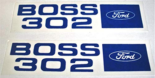 (2pc Set 1969 1970 FORD 302 BOSS VALVE COVER DECAL - STICKER Includes Mustang)