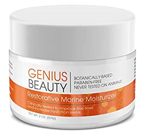 Marine Moisturizer from Genius Beauty, Natural Anti Aging Face Cream for Women and Men – Hydrating Collagen Fine Line and Wrinkle Reducer – Best Day and Night Cream, Skin Care Product - 2 Oz.