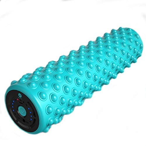 (JKL Electric Foam Shaft Muscle Relaxation Fitness Stovepipe Yoga Column Solid Floating Point Wolf Vibrating Bar Massage (Color : Blue))