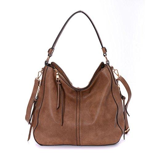 DDDH New Large Hobo Handbags Leather Purse Shoulder Bag Vintage Bucket Bag For Women(Light brown)
