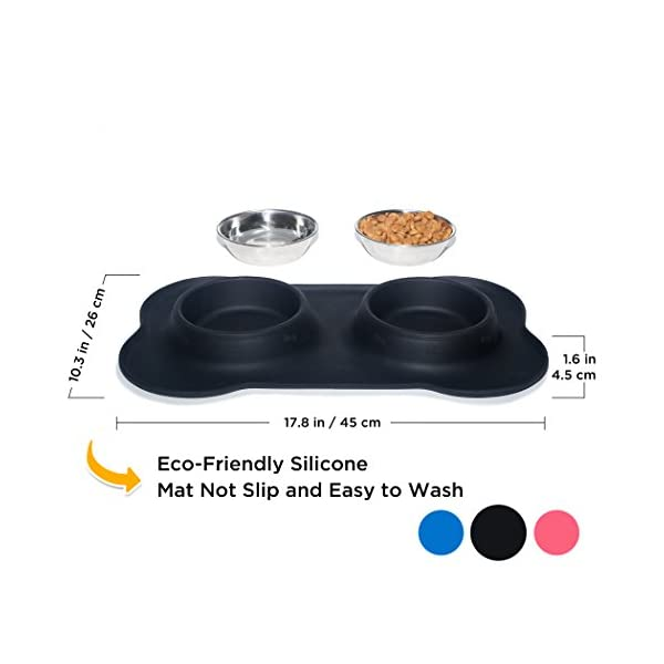 KEKS Small Dog Bowls Set of 2 Stainless Steel Bowls with Non-Skid & No Spill Silicone Stand for Small Dogs Cats Puppy & Collapsible Travel Pet Bowl 3