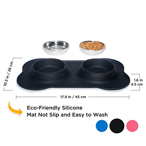 Large Product Image of KEKS Small Dog Bowls Set of 2 Stainless Steel Bowls with Non-Skid & No Spill Silicone Black Stand for Small Dogs Cats Puppy & Collapsible Travel Pet Bowl