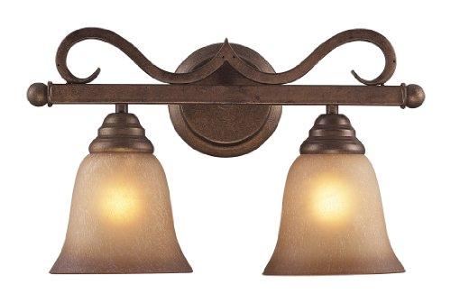 Elk 9321/2 2-Light Vanity In Mocha and Antique Amber Glass