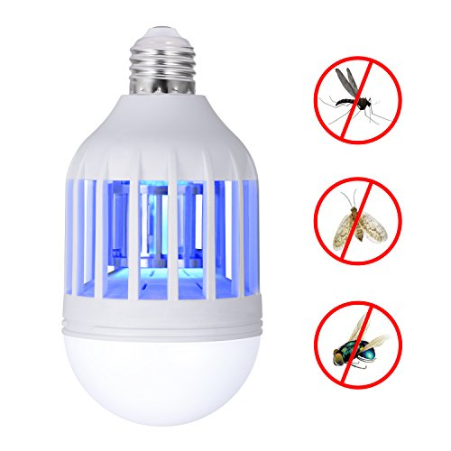 Boomile Mosquito Zapper Lamp, 110v Electronic Indoor Bug Zapper LED Light Bulb, E26/E27 Light Base Mosquito Trap, Insect Killer Lamp for Outdoor Porch Patio, Garden