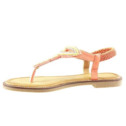 Angkorly - Scarpe da Moda sandali cinturino donna gioielli intrecciato Tacco a blocco 1.5 CM - Arancione