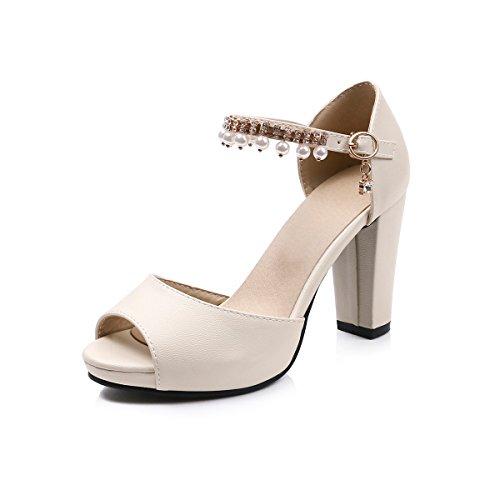Fibbie 9Cm Dei Estate Tacchi scarpe Scarpe da Di Bocca Beige Da Donna Estate Tempo Libero estive donna Donne GTVERNH Sandali Scarpe Alti Dura Tacchi Piedi Pesce Dita q7Bg66