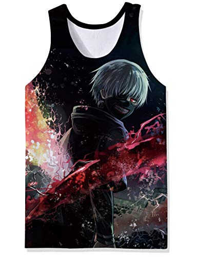 Lifocs Cool Graphic Designs Workout Tanks Top Marroon Bloody Black Ken Kaneki Tokyo Ghoul Nice Fitted Muscle Tee Shirt 70s Athletic Mesh Vest Singlet Jersey Wife-Beater]()