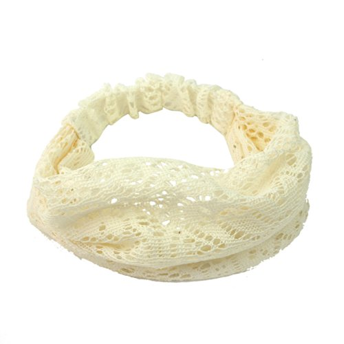 Elegant Women Black Bandanas Lace Headwrap Headband Girls' Hair Accessory Gift (Beige)