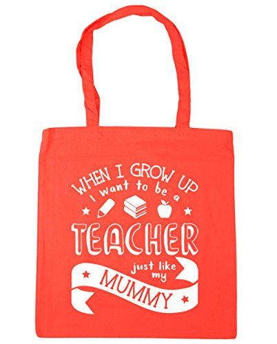 HippoWarehouse WHEN I Grow Up I Want To Be A profesor Just Like My Mummy bolsa de la compra bolsa de playa 42 cm x38 cm, 10 litros Coral