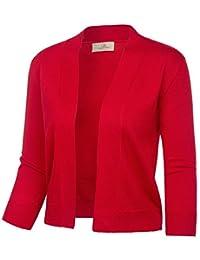 GRACE KARIN Women's Knit Cardigan Christmas Sweaters 3/4 Sleeve Open Front Shrug Cropped Bolero