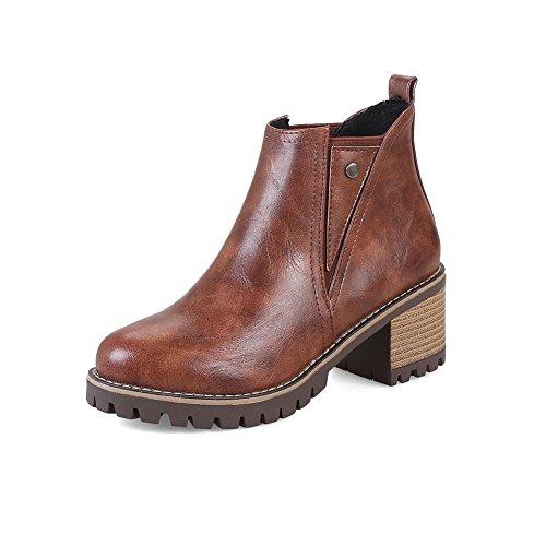 Womens Slip Resistant Platform ABL10274 BalaMasa Urethane Boots Brown Retro HxtRqqw1